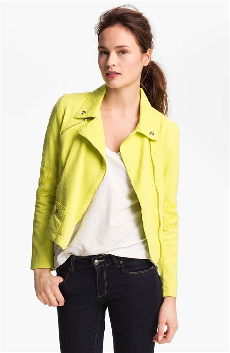 Try A Brightly Coloured Jacket For by Steve Madden Colored Denim Moto Jacket In Yellow Bright