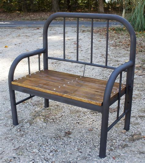 vintage metal bench rustic bench made from old antique iron bed ebay