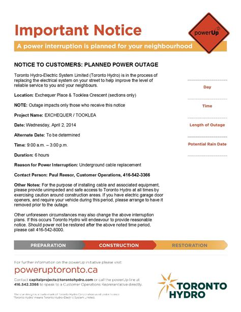 outage notification template 28 images tivoli tivoli