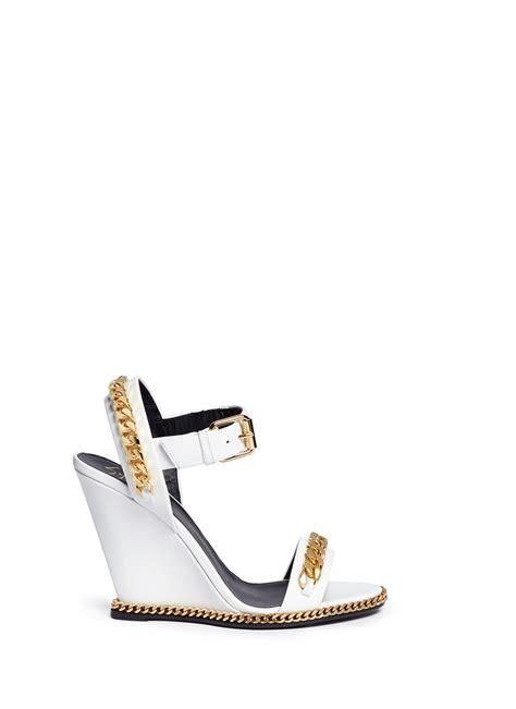 white giuseppe zanotti sandals giuseppe zanotti chain wedge sandals in white lyst