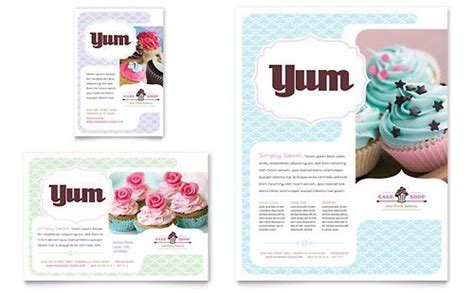 Bakery Cupcake Shop Flyer Word Template Publisher Template Inspiration Design Cake Brochure Template Free