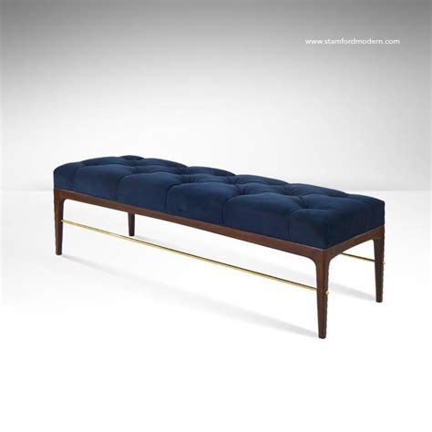 velvet bench brass rodded bench in tufted blue velvet at 1stdibs