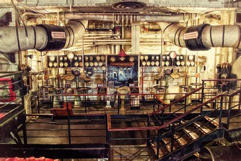 public boat r lake james indiana control board engine room queen mary ocean liner long