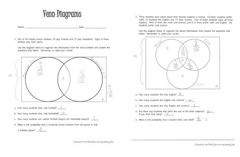 solving problems using venn diagrams worksheets venn diagrams literacy strategies for the math classroom