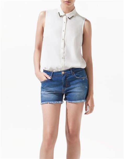 Zara Jumbo Blouse By Hana zara blouse with appliqu 233 collar in beige ecru lyst