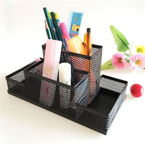 Office Desk Stationery Sturdy Mesh Reading Desk Organizer Metal Storage Box Metal Pen Holder Office Home Supplies