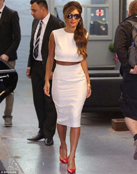 scherzinger in white crop top and pencil skirt