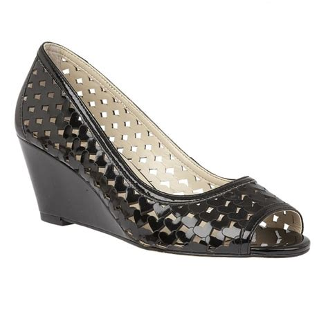 black valetta patent wedge shoes lotus shoes from