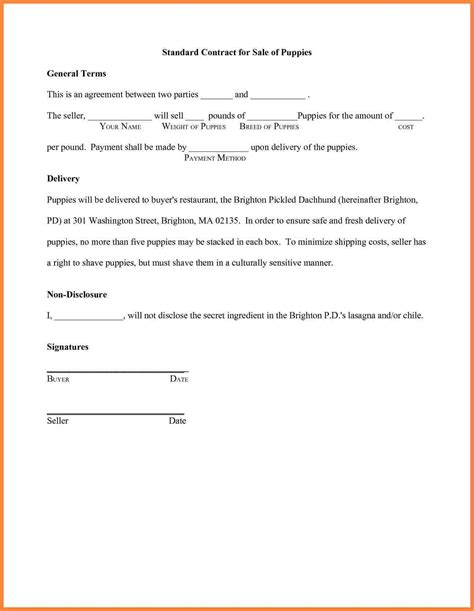 Sle Letter Of Agreement Between Two Free Printable Puppy Contract Breeds Picture