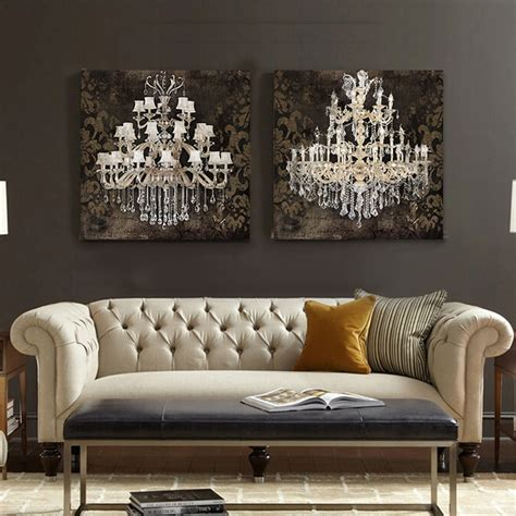 wall prints for living room modern still life painting canvas art crystal chandelier