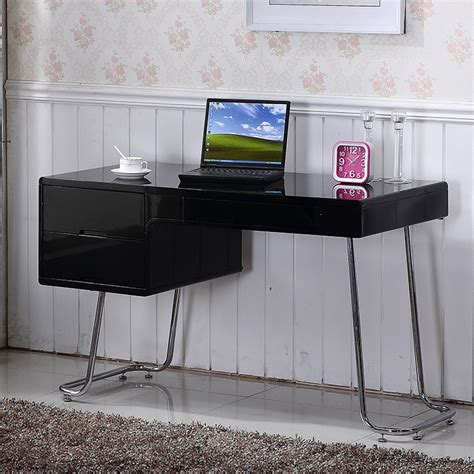 High Work Desk by Lumiere Computer Desk High Gloss Black Computer Desk
