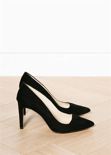 minimal classic black suede heels shoes and