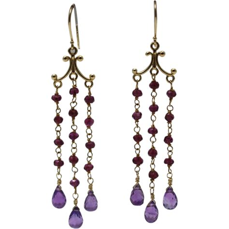 Handcrafted Gold Earrings - handmade rhodolite garnet and amethyst chandelier