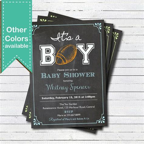 Football Themed Baby Shower Invitations by American Football Baby Shower Invitation Retro Chalkboard