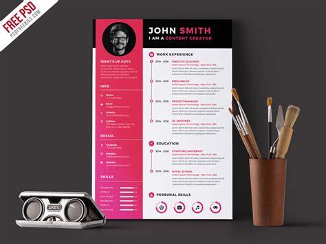 Modern Resume CV Template Free PSD   PSDFreebies.com