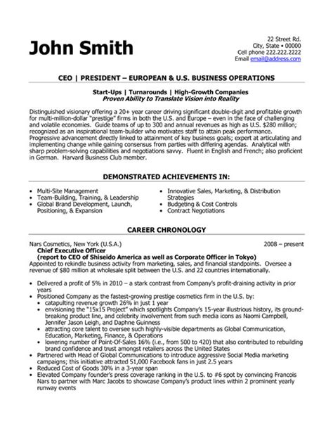 Ceo Resume Templates by Ceo President Resume Template Premium Resume Sles