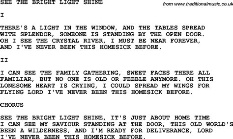 Light Lyrics by Country Southern And Bluegrass Gospel Song See The Bright