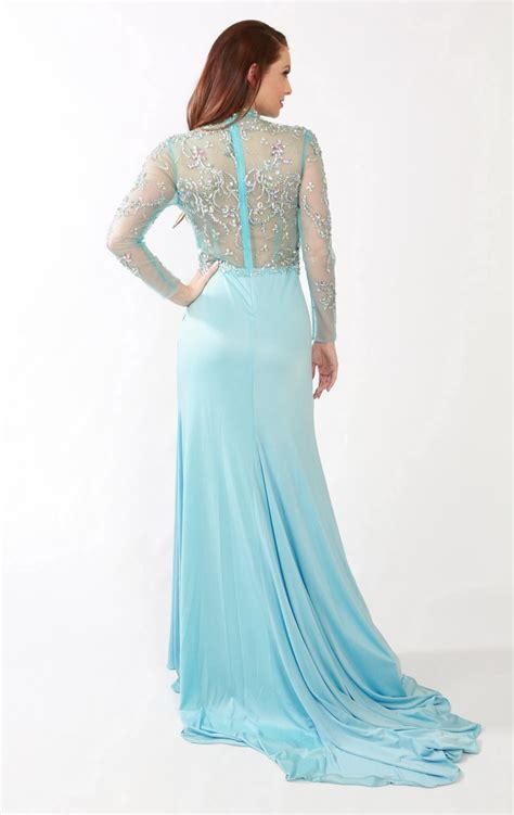 Gaun Malam Panjang 2014 menakjubkan sifon gaun prom panjang penuh manik manik leher tinggi lengan panjang ruched