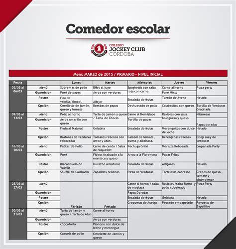 menu comedor escolar comedor escolar 250 marzo 2015 nivel inicial y primario