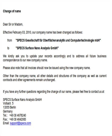 sample business change letter templates ms