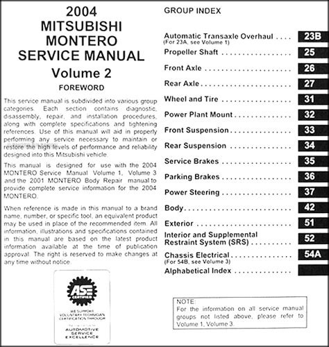 2004 mitsubishi montero repair shop manual original set
