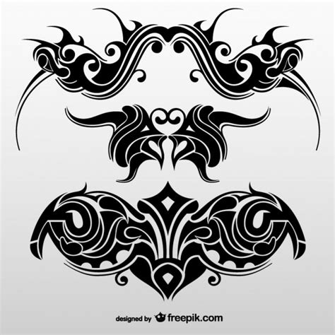 set of tribal abstract tattoos vector free download collection of abstract tribal tattoos vector free download