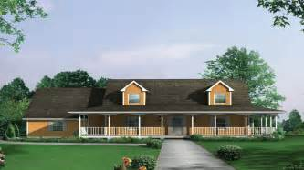 One Story Country House Plans With Wrap Around Porch Ranch Farmhouse Country Ranch Farmhouse Plan D House Plans And More One Story House Plans With