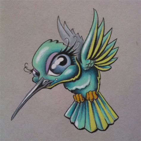 tattoo flash hummingbird she needs a background but happy with the results so far