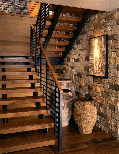 modern stair railing staircase rustic with antique pot