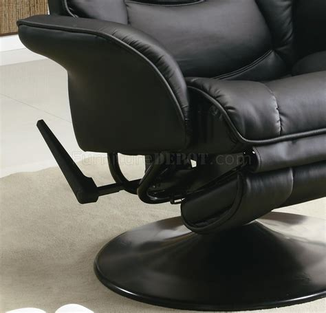 black leatherette modern swivel recliner chair w base