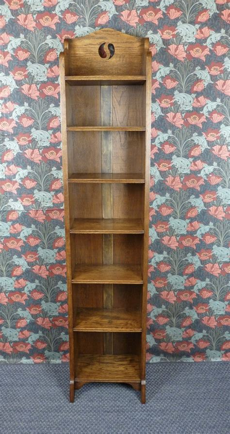 Narrow Oak Bookcase Arts Crafts Narrow Oak Bookcase C1910 Antiques Atlas