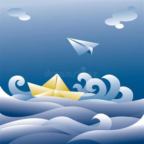 boat paper plans paper boat and plane stock vector illustration of white