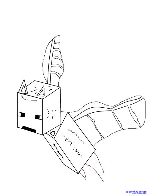 Minecraft Bat Coloring Page | draw a minecraft bat minecraft step by step drawing