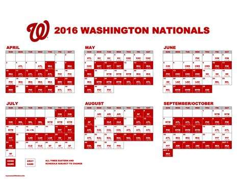 printable schedule washington nationals nationals schedule 2016 printable clipart library