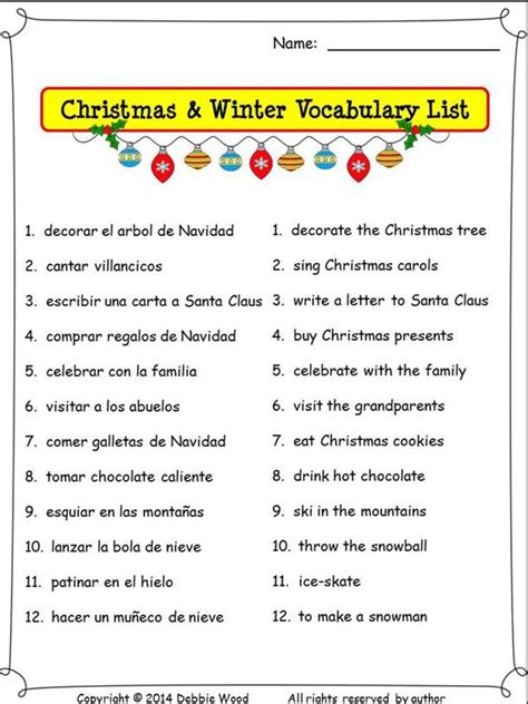 decorar conjugation present tense spanish christmas winter verbs 6 printables and 24