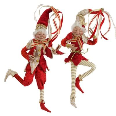 raz imports 18 quot posable elf red and gold set of 2 out of