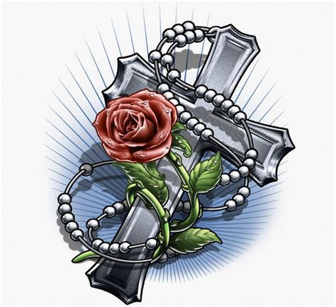 cross with rose tattoo designs drawings cross and designs