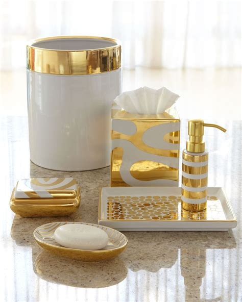 Vanity Tray By Waylande Gregory Porcelain Gold Vanity White And Gold Bathroom Accessories
