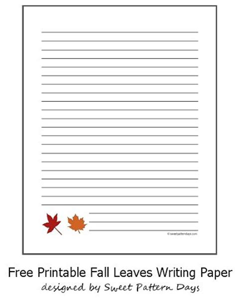fall leaves lined writing paper stationery printables