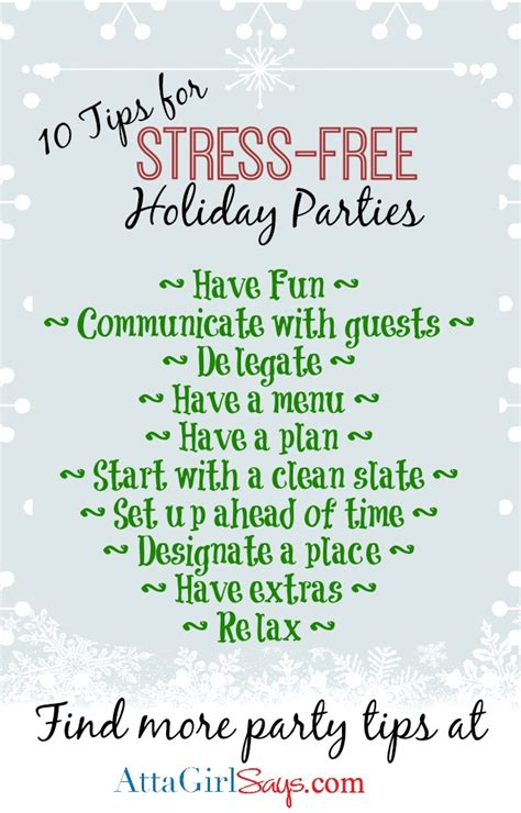 how to plan a stress free holiday party and a free 10 tips for stress free holiday parties atta girl says