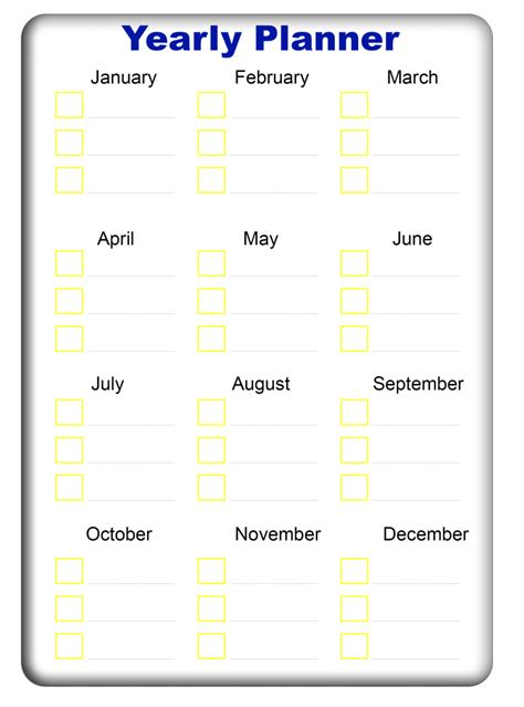 yearly planner templates   excel word  printable calendar