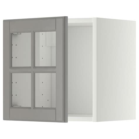 Ikea Kitchen Wall Cabinets With Glass Doors Metod Wall Cabinet With Glass Door White Bodbyn Grey 40x40