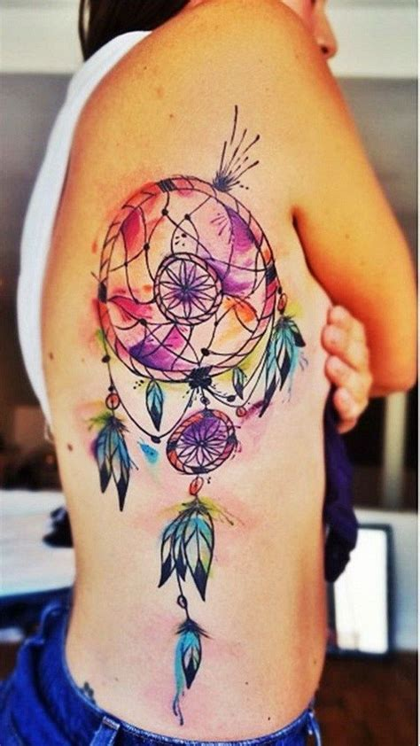 dream catcher tattoo on side watercolor colorful watercolor catcher