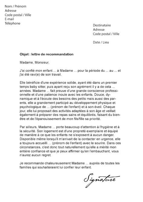 Demande Lettre De Recommandation Employeur Lettre De Recommandation Nounou Mod 232 Le De Lettre