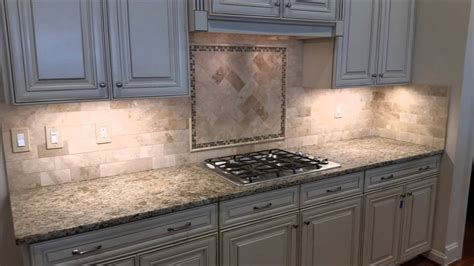 Kitchen Cabinets For Less by Travertine Backsplash With Herringbone Inlay Youtube
