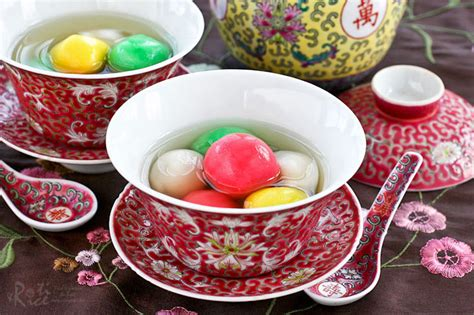 new year food tang yuan tang yuan glutinous rice balls with bean paste