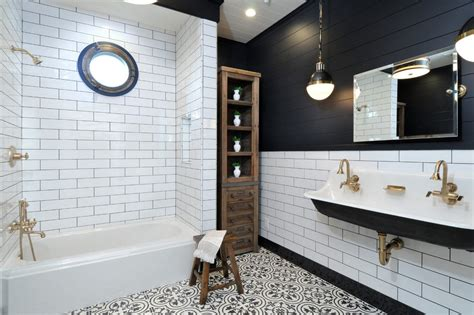 Bathroom Fixtures Los Angeles Los Angeles Black And White Bathroom Transitional With Brass Fixtures Polished Mosaic Tiles