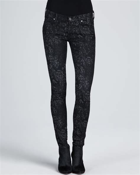 grey patterned skinny jeans 7 for all mankind skinny jacquard jeans in black lyst