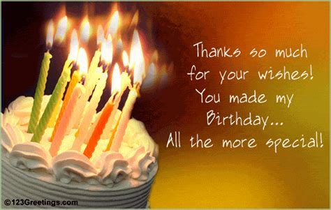 Thanks For Your Birthday Wishes! Free Birthday Thank You