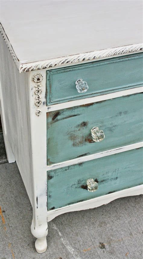 antique white dresser pulls antiqued white with sea blue drawers distressed i love